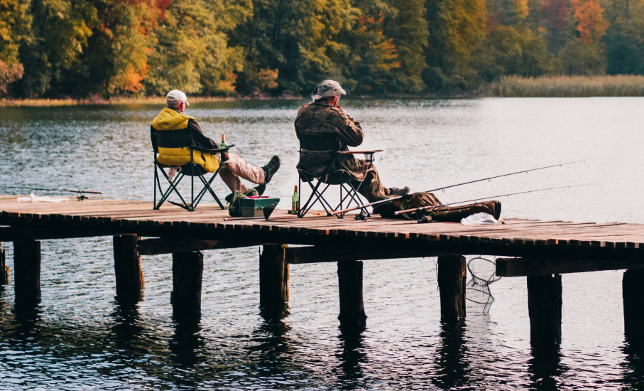 two older men fishing